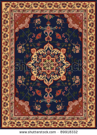 Oriental Floral Carpet Design.